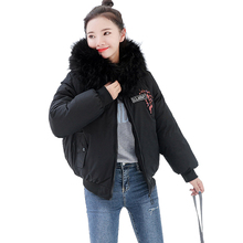 Womens Winter Short Style 2019 New Cotton Clothing Wild Jacket Fur Collar Embroidered Stylish Coat Parkers Fashion Trend