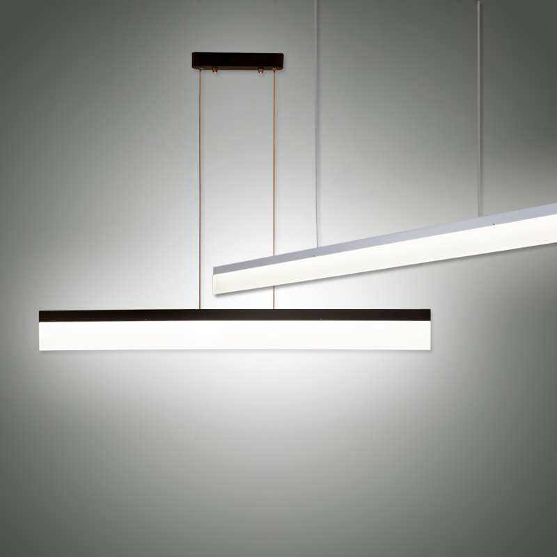 Modern Long LED Pendant Light Minimalism Aluminum Acrylic Hanging Lamp Office Study Table Suspension Indoor Lighting Fixture zx modern aluminum led chip pendant lamp engineering hanging wire strip light fixture for office conference room study lamp