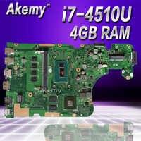 Akemy X555LD placa base de Computadora Portátil para ASUS X555LD X555LP X555LA X555L X555 prueba a bordo placa base 4G-RAM I7-4510U GT820M/GT840