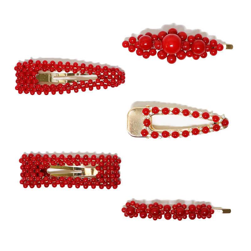 1Pc nueva moda rojo clip de perla para el cabello para las mujeres las niñas accesorios elegantes para el cabello diseño coreano broche de pasador de horquilla de barra sombreros