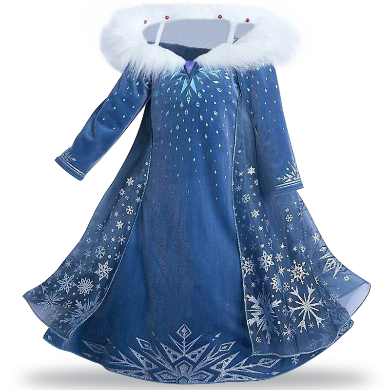 2018 Anna Elsa Dress for Girls Costume Kids Easter Carnival Party Clothes Child Cinderella Princess Dresses Enfant Sky Blue Lace children anna elsa princess birthday dresses cosplay party fancy costume with cape christmas dress child blue red clothes kids