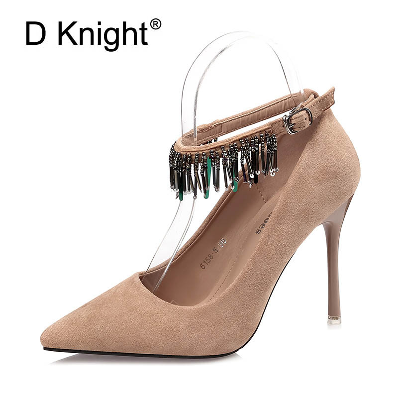Fashion String Beaded Women Pointed Toe Thin Heels Shoes Ladies Elegant Flock Pointed Toe Pumps Female Evening Party Stilettos memunia flock pointed toe ladies summer high heels shoes fashion buckle color mixing women pumps elegant lady prom shoes