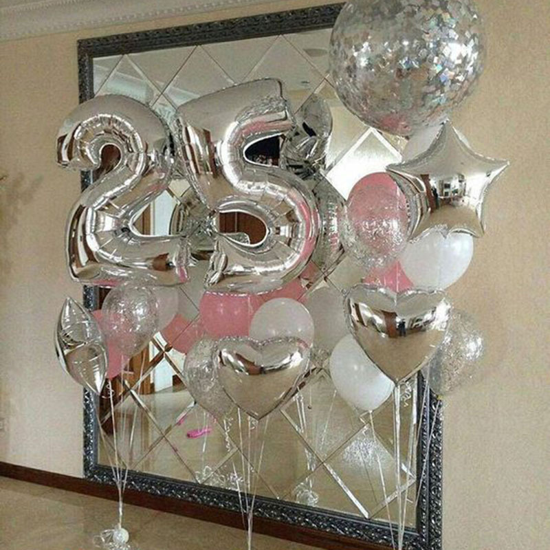32 Inches Rose Gold Sliver Number Foil Balloons Large For Birthday Party Wedding Decoration