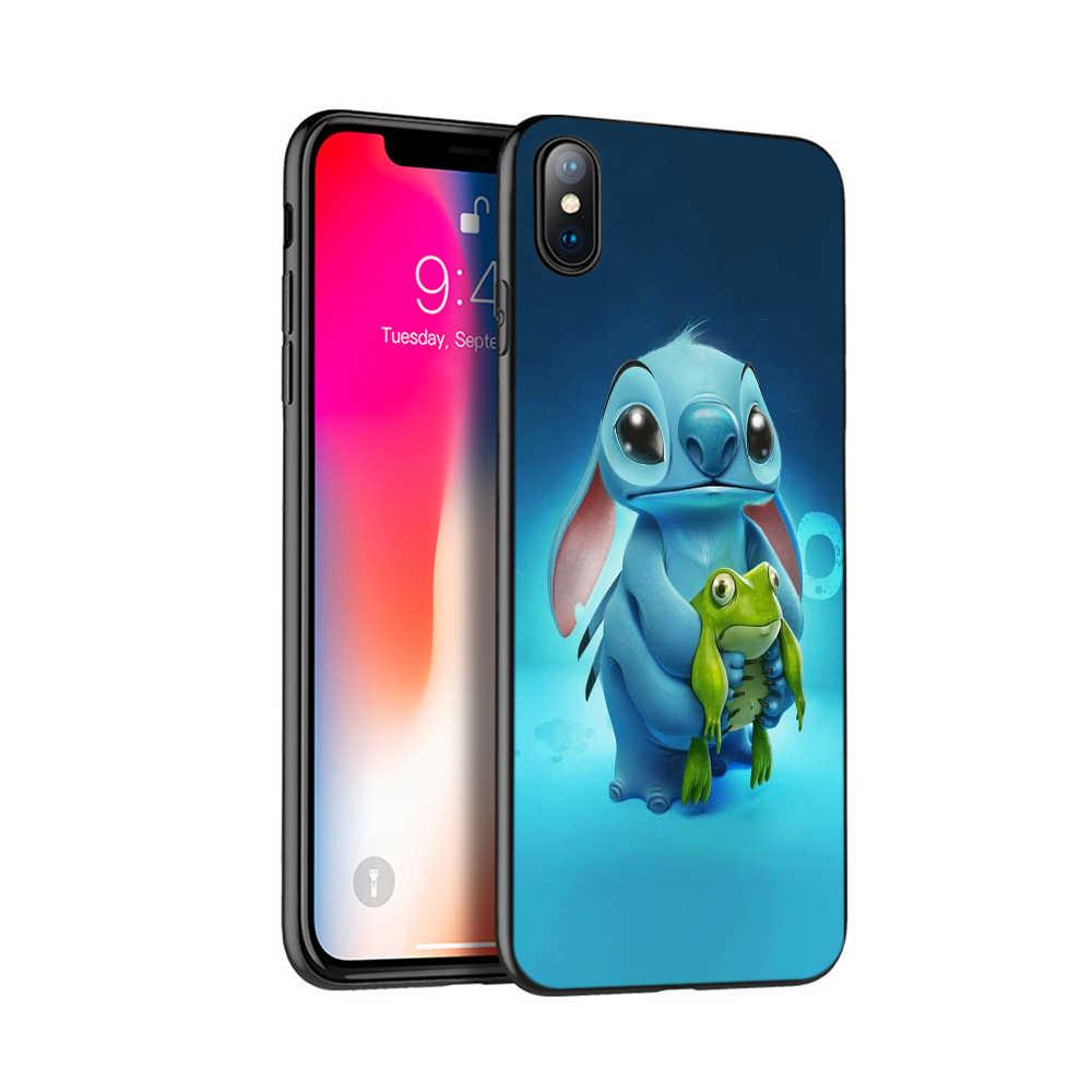 Preto tpu case para iphone 5 5s se 6 6s 7 8 plus x 10 caso capa de silicone para o iphone XR XS MAX caso bonito lilo Ponto dos desenhos animados