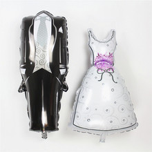Wholesale 100pcs/lot 75*39cm Groom Bride Wedding Dress Foil Balloon Marriage Decoration Ballon for Romantic party supplies