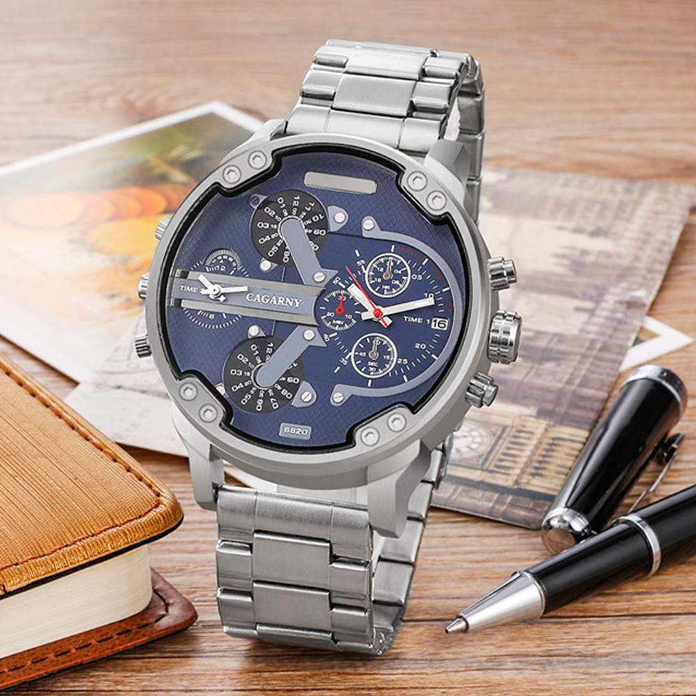very cool dz 7314 7313 7333 7371 big case mens watches full steel band dual time zones miltiary watch men quartz wrist watch free shhipping (88)
