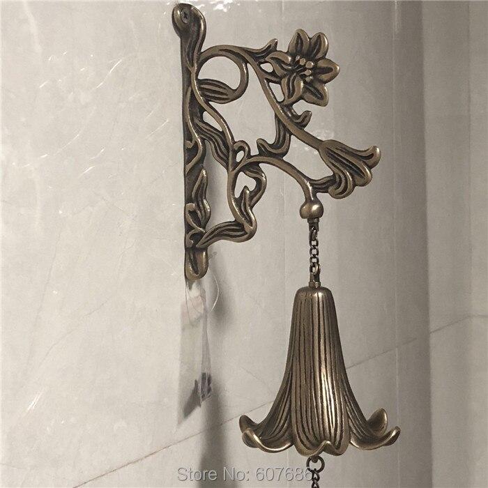 Cast Brass Windchimes Bell Sounding Copper Lily Flower