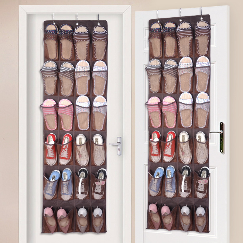 HIPSTEEN 24 tasche appese sopra porta scarpe porta tessuto non tessuto in tessuto a maglia portaoggetti armadio armadio - marrone
