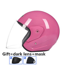 Motorcycle Helmets Bike Bicycle Helmets Open Half Face with Lens Retro Vintage Style M L XL pink color with one more dark for motocross bike m l xl open face helmet dot abs eps motorcycle german style half helmets vintage mayitr