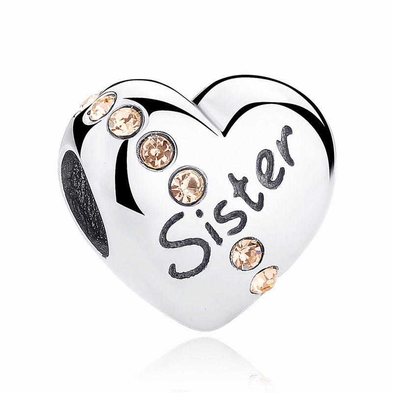 Silver Family Charm Beads - sister