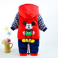 Baby Boys Winter Clothing Set Cotton Parkas for Boy Warm Jacket Coats Pants Two Pieces Mickey Pattern Hooded for 1,2,3 Years