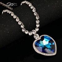 Top Quality Love Hearts Grande Azul/Amarelo Cristal 18 DFN586M 18KRGP Colares & pingentes de Cristal Jóias Para Mulheres colares