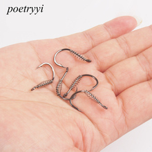 POETRYYI Stainless Steel Fishing Hooks Barbed Swivel Carp Jig Fishhook Spring Hook With Hole For Fishing Tackle P30