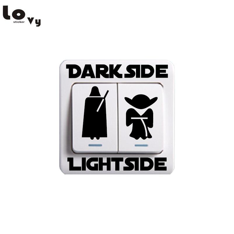 Classic Movie Star Wars Dark Side Light Side Switch Sticker Cartoon Vinyl Wall Sticker for Kids Room Bedroom Home Decor 001