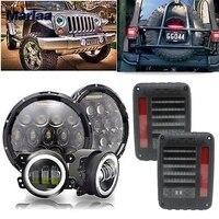 Marlaa светодиодный круглый фар 7 дюймов 2 шт. + светодиодный задний фонарь + 4 дюйма светодиодный фонарь для Jeep JK wrangler 07 17