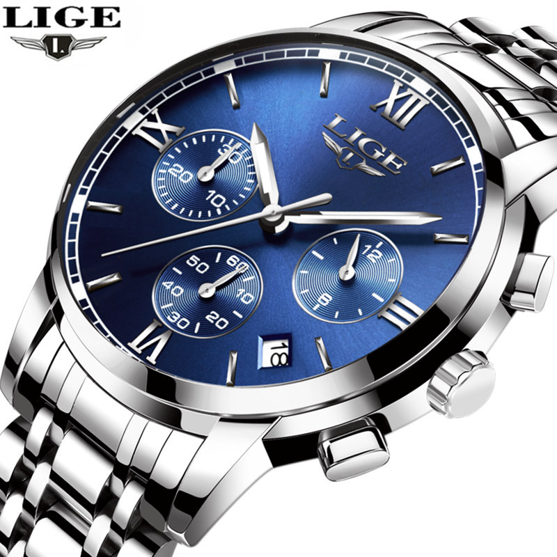 Relogio Masculino LIGE Men Watches New Top Brand Luxury Fashion Business Quartz Watch Men Sport Full Steel Waterproof Wristwatch