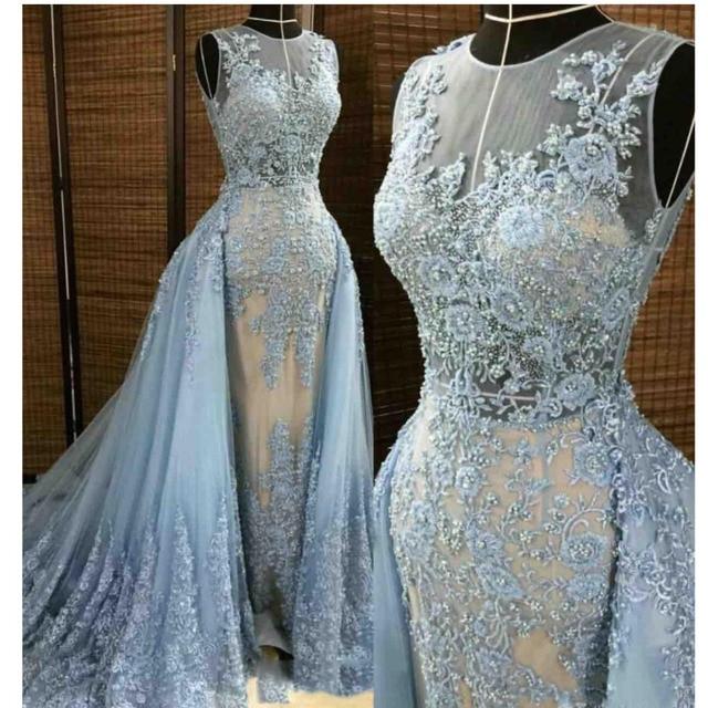 0154e09d35b9 Robe De Soiree Luxury Mermaid Evening Dresses Detachable Train Beaded Lace  Appliques Sky Blue Evening Gowns Abiye Abendkleider