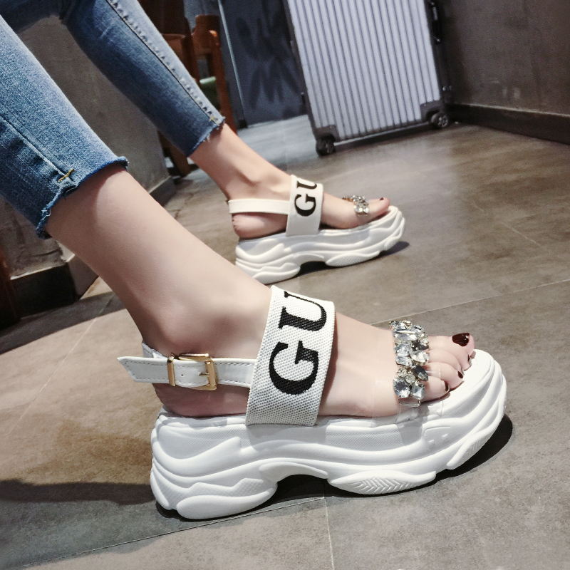 Chowaring Women Sandals Wedges Platform Chunky Heels Beach-Shoes Crystal High-Heeled