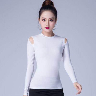 2019 New Latin Dance Clothes Top For Women Dancers Long Sleeve Cutout Sexy Costume Ballroom Flamengo Practice Performance Wear