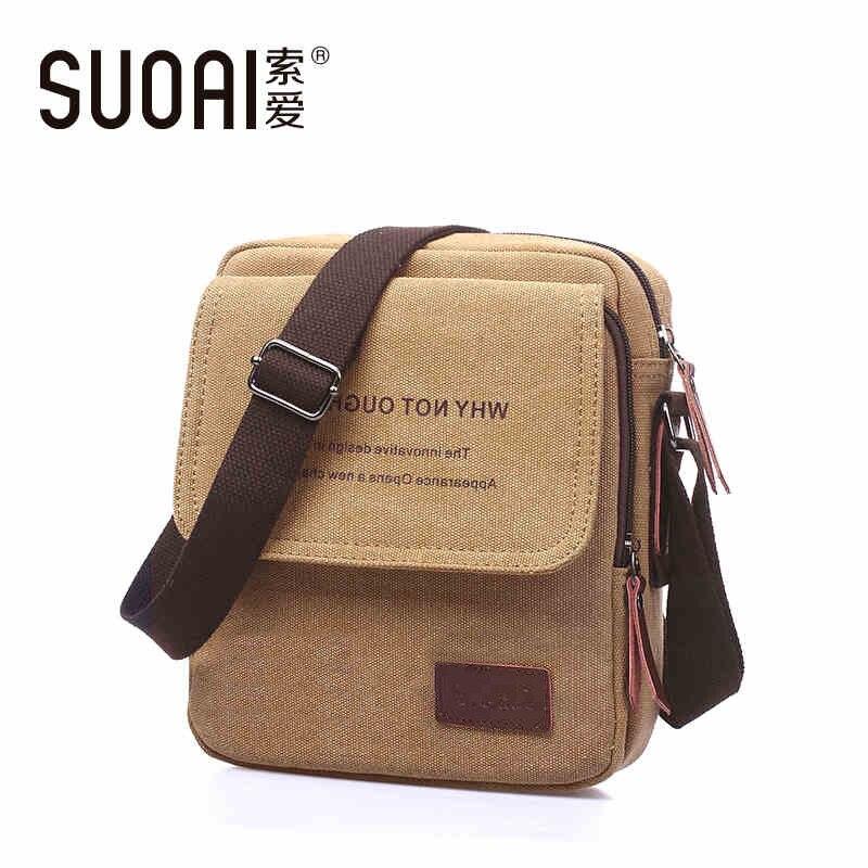 SUOAI Mens Canvas Shoulder Bag 2015 Fashion Vintage Messenger Bags Casual Mens Bag