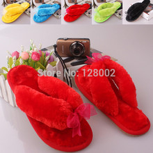 Hot Selling Autumn Winter Non-slip Home Bowknot Cotton Plush Slippers Women Indoor Floor Slippers Girl Flip Flops Flat Shoes