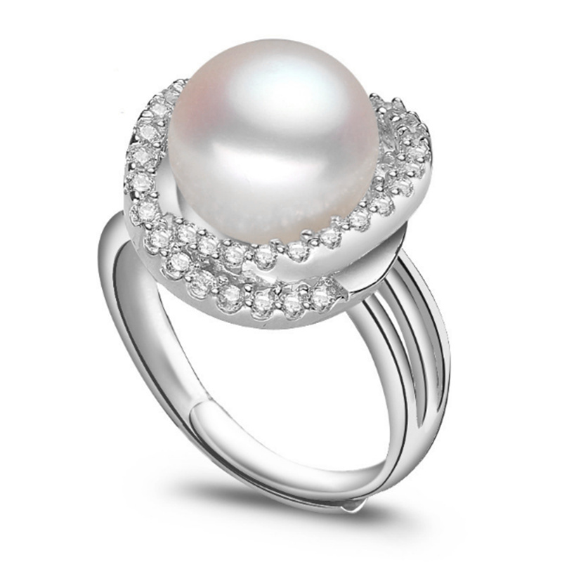 sterling silver jewelry luxury top quality carat wedding engagement ring open ring fashion pearl ring for women free shipping