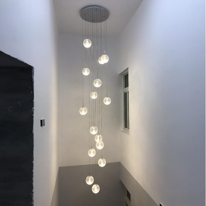 Modern Minimalist Dining Room Art Pendant Lights Living Room Creative Personality Villa Double Rotating Staircase Pendant Lights