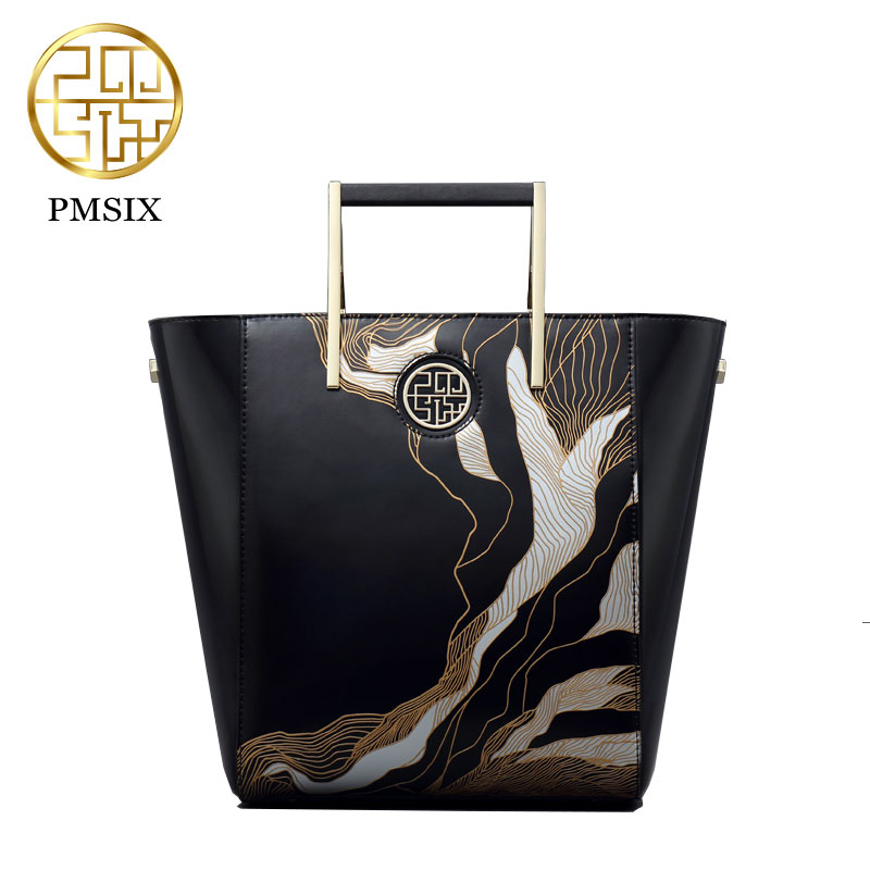 PMSIX 2017 Autumn And Winter Women Bag Fashion Carving Art Leather Handbag Women Chinese style Big Bag Simple For Female P120068