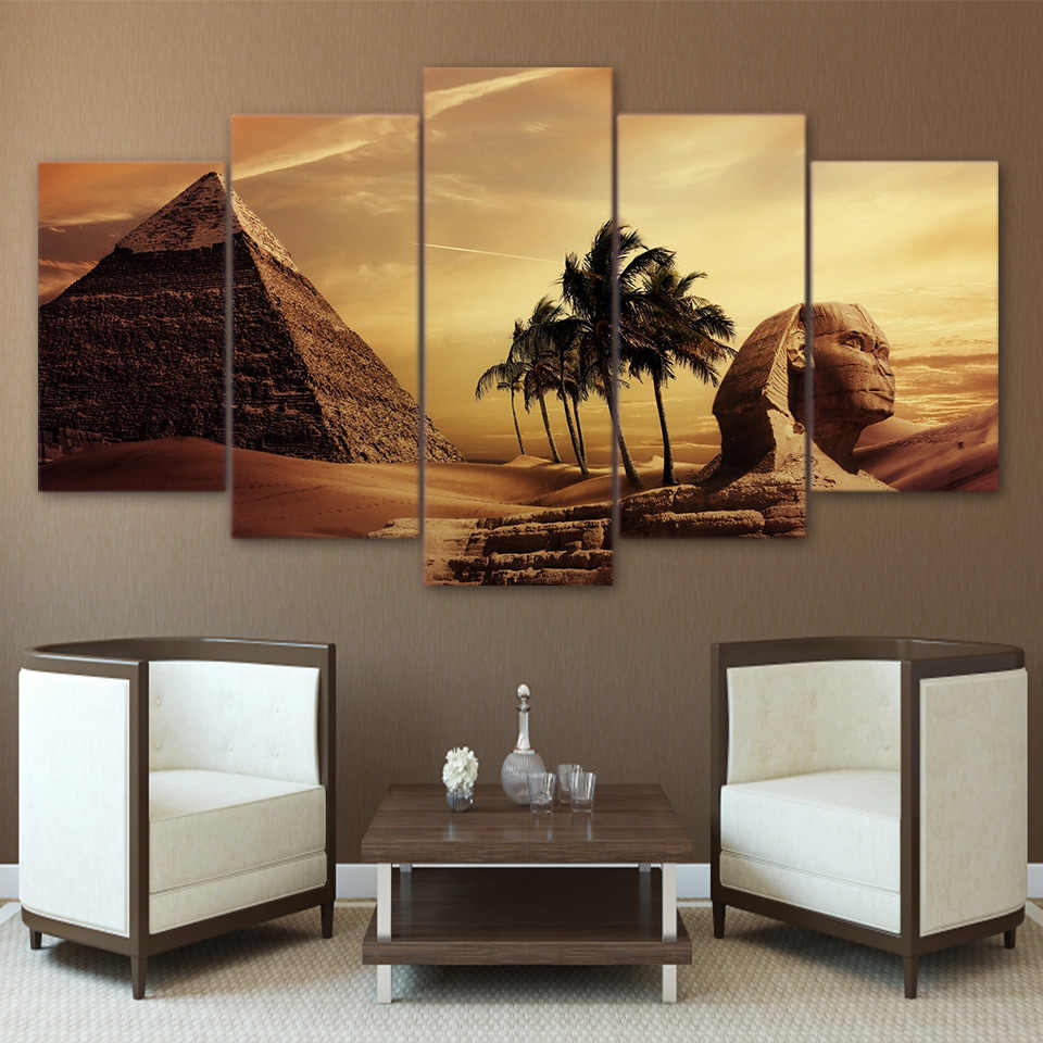 Wall Art Pictures Frame Home Decor Living Room Poster 5 Pieces Egyptian Pyramids Painting Canvas Sunset Desert HD Print Mural