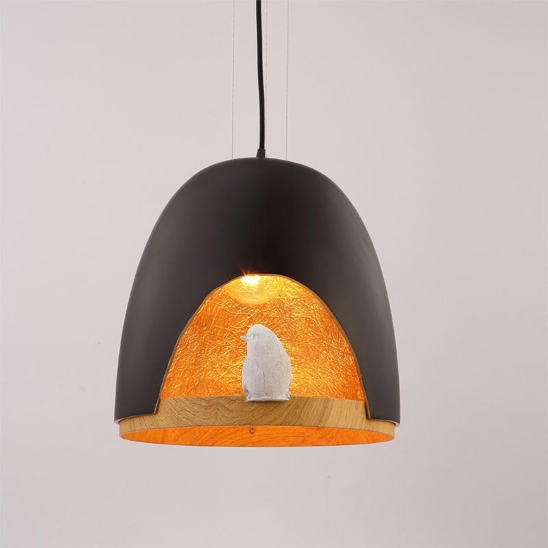Modern Pendant Light Lamps for Dinning Room Kitchen Resin Bird White Black Iron Lampshade Decor Home Lighting Fixtures 110-240V