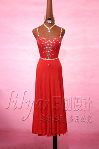 Image 2 - Sparkly Rhinestones Red Latin Dance Dress with Accessories for Women Stage Performance Cha Cha Rumba Samba Practice Clothes Lady
