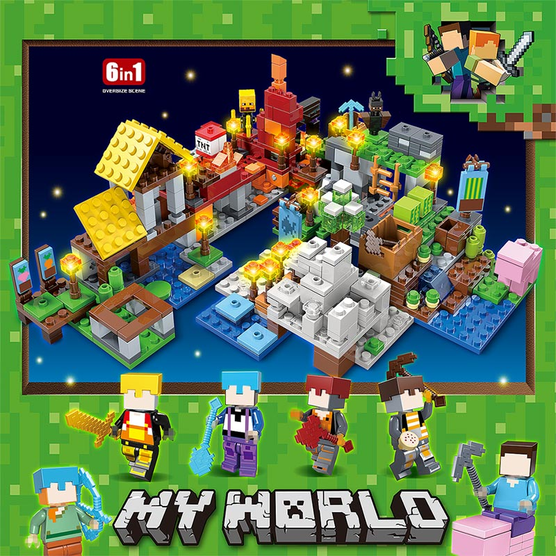 737pcs MY WORLD Compatible Legoinglys Minecrafted Figures Arms Building Blocks Defend Home Zombie Figures DIY Toys For Children 3