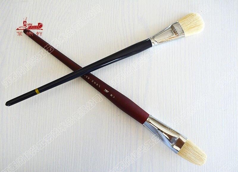 1pcs high quality Tongue shape pig bristle Large Single oil paint brush artists paintbrush Professional Art Supplies stationery 2pcs tongue