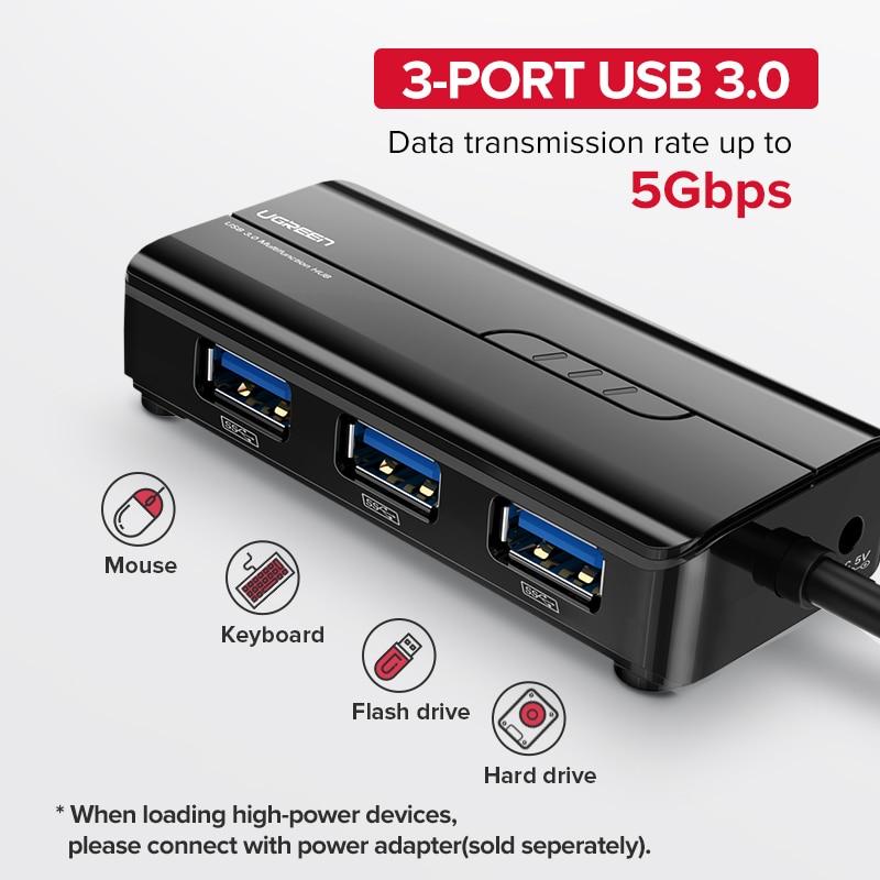 Ugreen USB Ethernet USB 3.0 2.0 to RJ45 HUB for Xiaomi Mi Box 3/S Set-top Box Ethernet Adapter Network Card USB Lan 2
