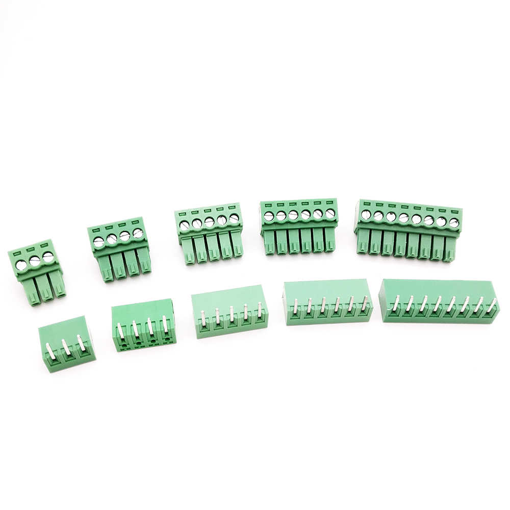20 Pair 3.5MM PCB Pluggable Terminal Block Connectors 2/3/4/5/6/7/8/9/10P Right Angle KF15EDG-3.5 Copper Green RoHSr