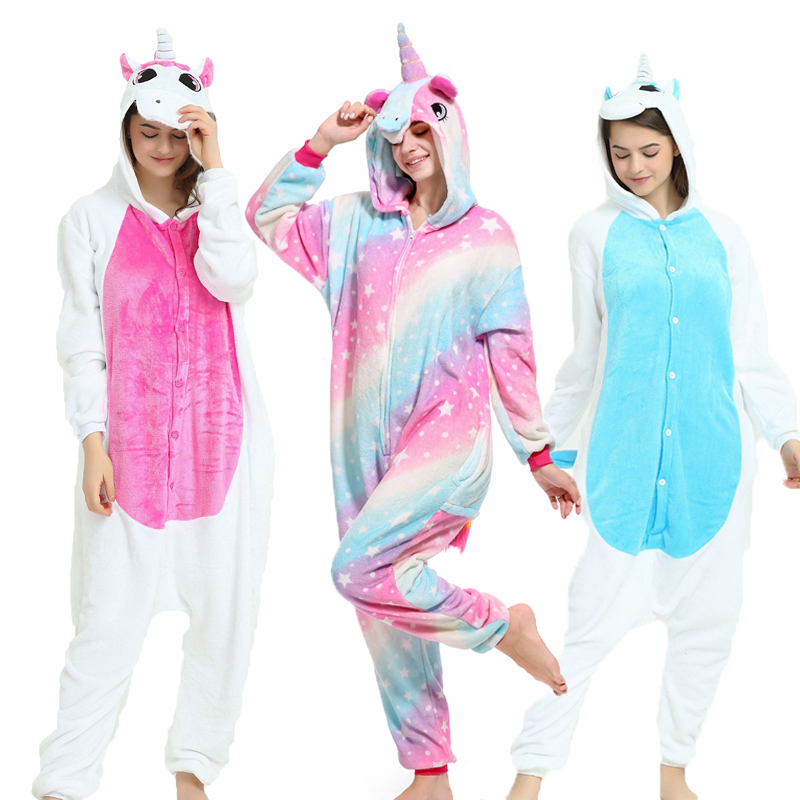 2019 New Animal Pajamas Women Men Pajama Cosplay Onesie Unicorn Winter Flannel Unisex Adults sleepwear jumpsuit onepiece suit