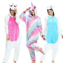 bed663abd1e7c2 2019 New piżama w zwierzątka kobiety mężczyźni piżamy Onesie Cosplay  jednorożec zima flanelowe Unisex dorosłych piżamy