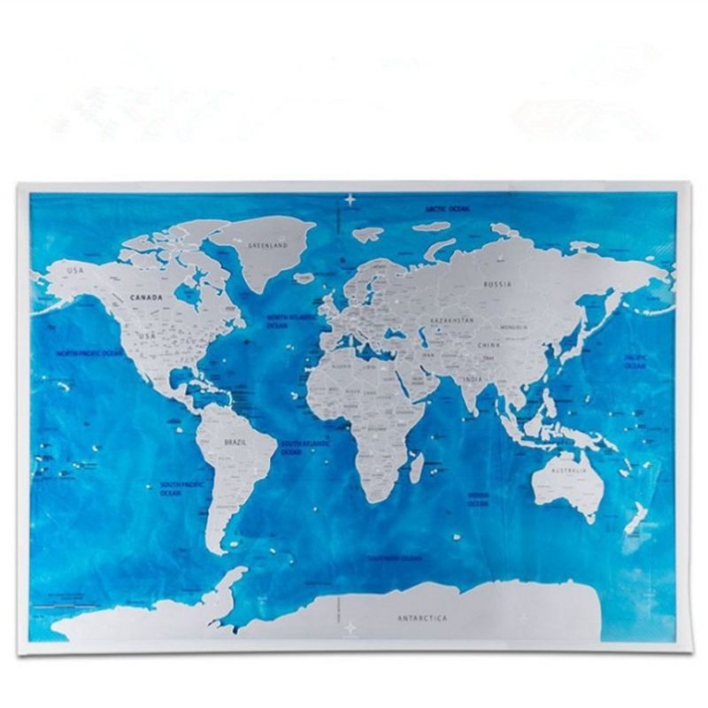 1 Pcs Scratch Map Blue Personalized Flag World Scratch Map Mini Scratch Off Foil Layer Coating Poster Wall Stickers