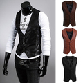 Men's Fashion Simple Design Slim Fit Faux Leather Vest Waistcoat Jacket Coat