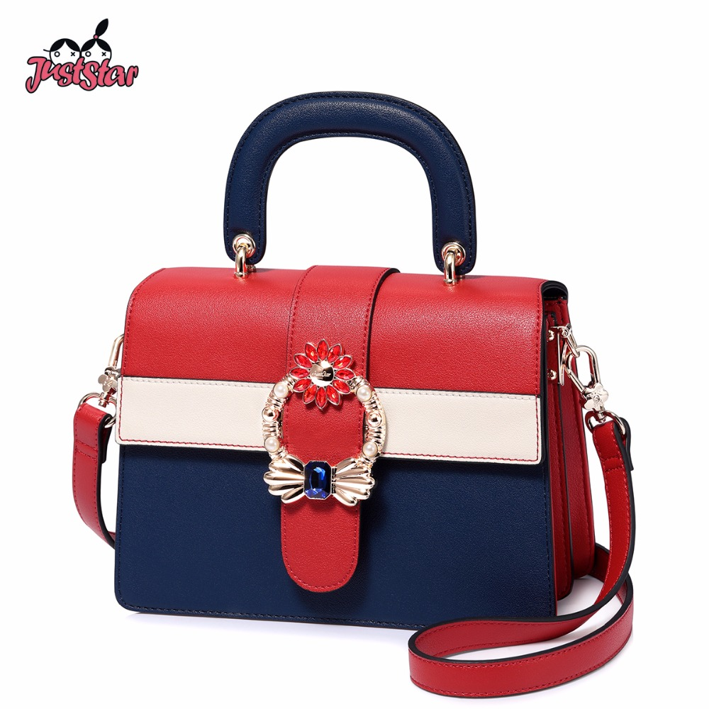 JUST STAR Brand Women's Leather Handbags Ladies Fashion Panelled Shoulder Tote Purse Female Flap Messenger Bags High Quality just star women s pu leather handbags ladies fashion rivet tote bags female cat cute messenger bags brand high quality jz4227