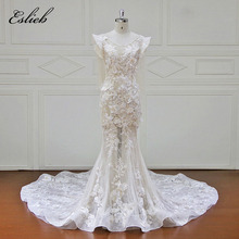 Eslieb High-end Custom made Wedding Dresses Lace Appliques Bunga manik gaun pengantin Vestido De Novias Wedding Dress XF17082