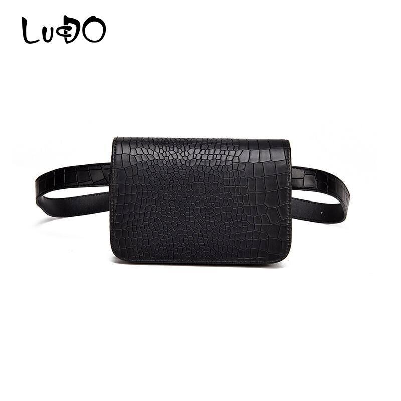 LUCDO Leather Waist Belt Bag Women Waist Packs Belt Fanny Bag Female Handbag Belt Sachet For Hip Ladies Handy Small Shoulder Bag