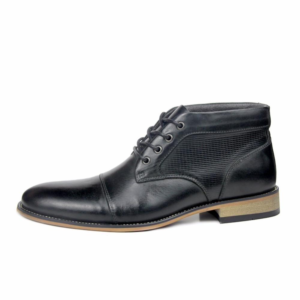 Lace Top Taille High Luxe Grande Formateurs Noir Robe Véritable Bottes Casual D'affaires Up Cheville En Cuir marron D'hiver Chaussures De Hommes Aq4vU