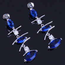 Impressive Long Marquise Blue Cubic Zirconia White CZ 925 Sterling Silver Drop Dangle Earrings For Women V0793