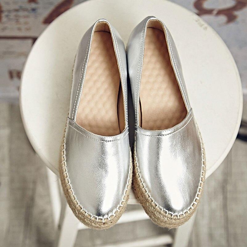 2016 Women Flats Genuine Leather Shoes Woman Slip On Loafers Woman Platform Flat Shoe Silver Gold Espadrilles Women Flats цены онлайн