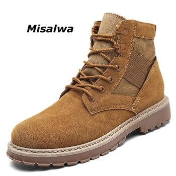 Misalwa hot sale mens 캔버스 컴뱃 하이 탑 스니커즈 플랫 앵클 부츠 레이스 업 슈즈 가죽 성인 작업 전술 군사 부츠