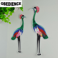 1 Pair 28cm 21cm Sew On Flamingo Shape Patches Sequined Embroidered Patch Motif Applique For Children