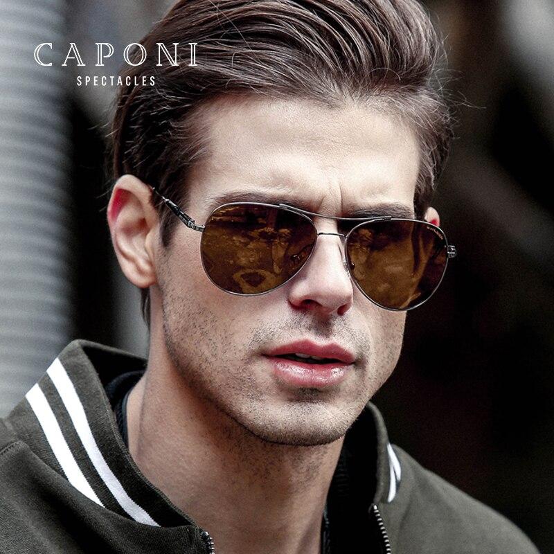 Caponi Hommes Pilote lunettes de Soleil Polarisées Photochromiques Pour Jour et Conduite de Nuit Lunettes de Soleil Oculos De Sol BSYS8003