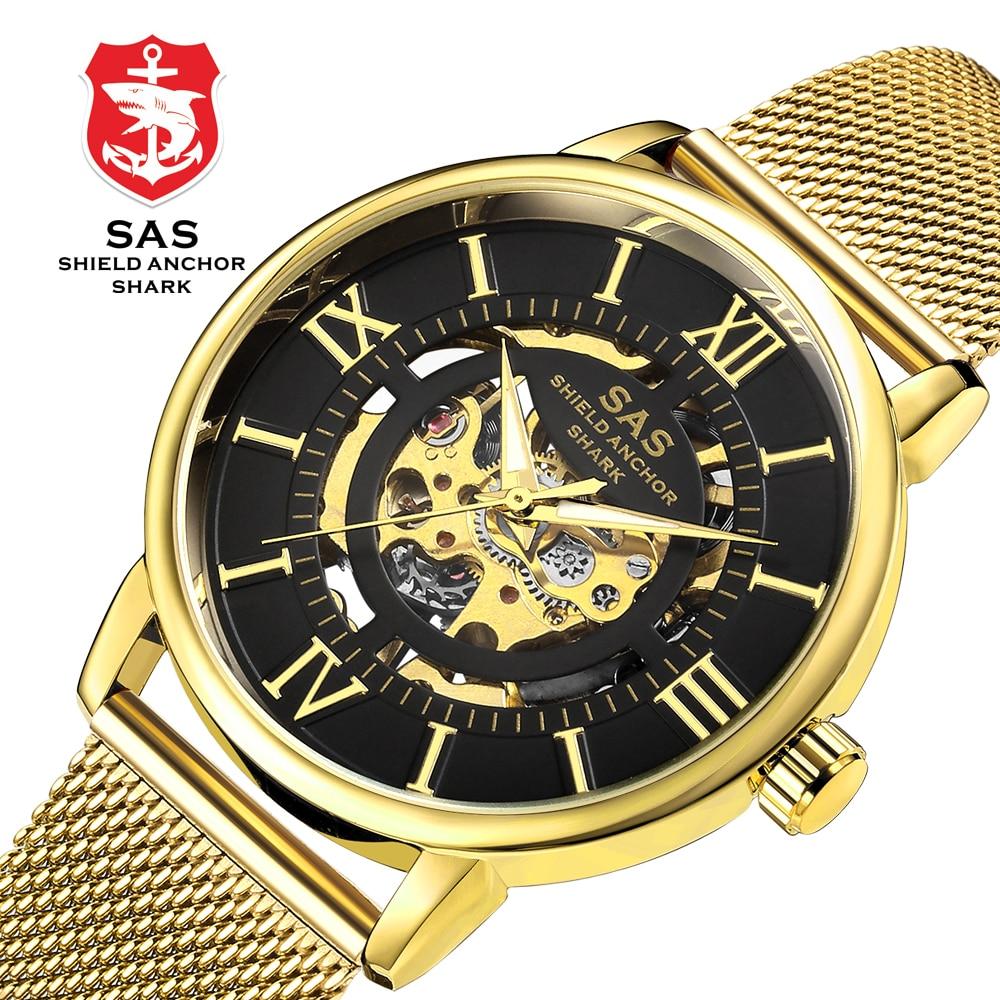 SAS Shield Anchor Shark Vintage Gold Transparent Case Roman Numeral Skeleton Men Business Mechanical Watches Steel Mesh Bracelet|Mechanical Watches| |  - title=