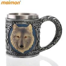 Neuheit 3D Wolf König Becher Edelstahl Wasser Bier Kaffee Trinkbecher Doppelwandige Kaffeetasse Aufkleber